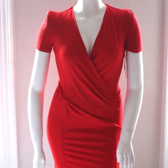 French Connection Dresses & Skirts - French Connection NEW red V neck pencil dress